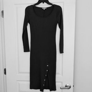 Ribbed long sleeve dress with a slit